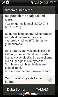 HTC Desire X yazılım güncelleme android 4.1.1