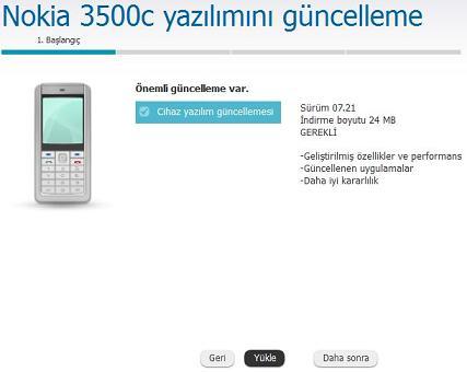 Nokia 3500c Yazılım güncelleme 2