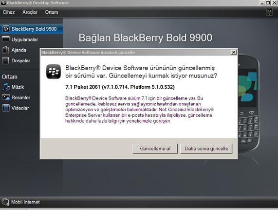 blackberry 9900 yazılım güncelleme