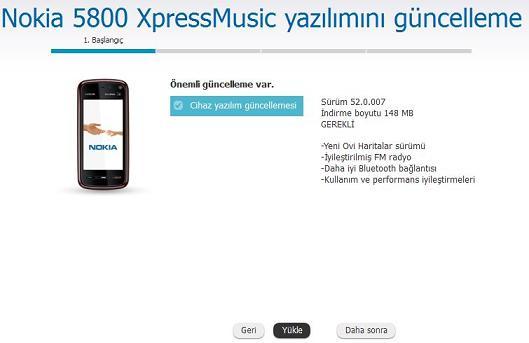 nokia 5800 XpressMusic yazılım güncelleme 3