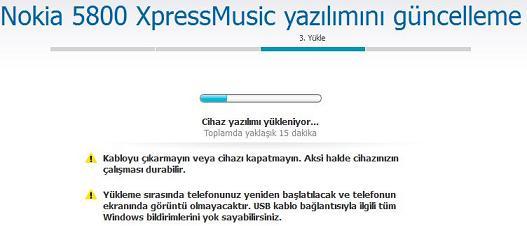 nokia 5800 XpressMusic yazılım güncelleme 6