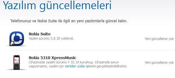 Nokia 5310 XpressMusic yazılım güncelleme