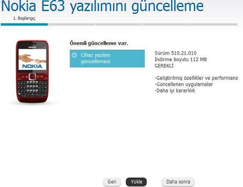 Nokia E63 Yazılım Güncelleme 3