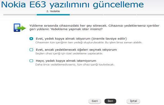 Nokia E63 Yazılım Güncelleme 5