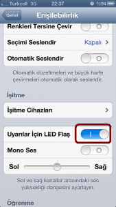 iphone uyarılar için led flaş açma