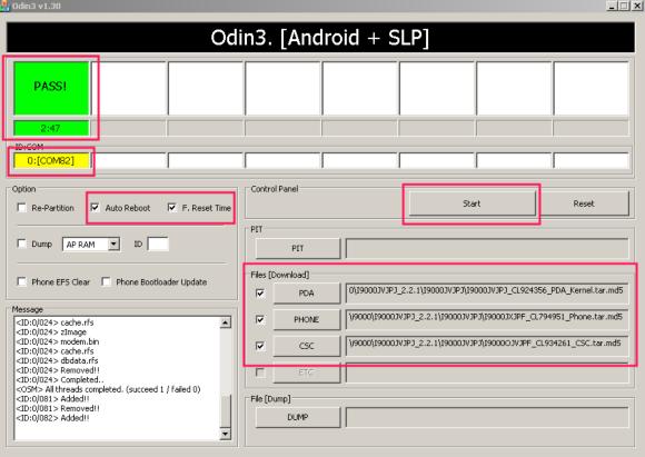 i9000 2.2.1 odin yazılım yükleme
