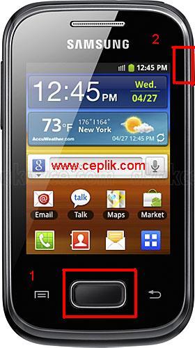 samsung galaxy pocket s5300 ekran görüntüsü kaydetme