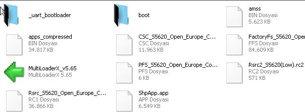 s5620 türkçe yazılım dosyaları