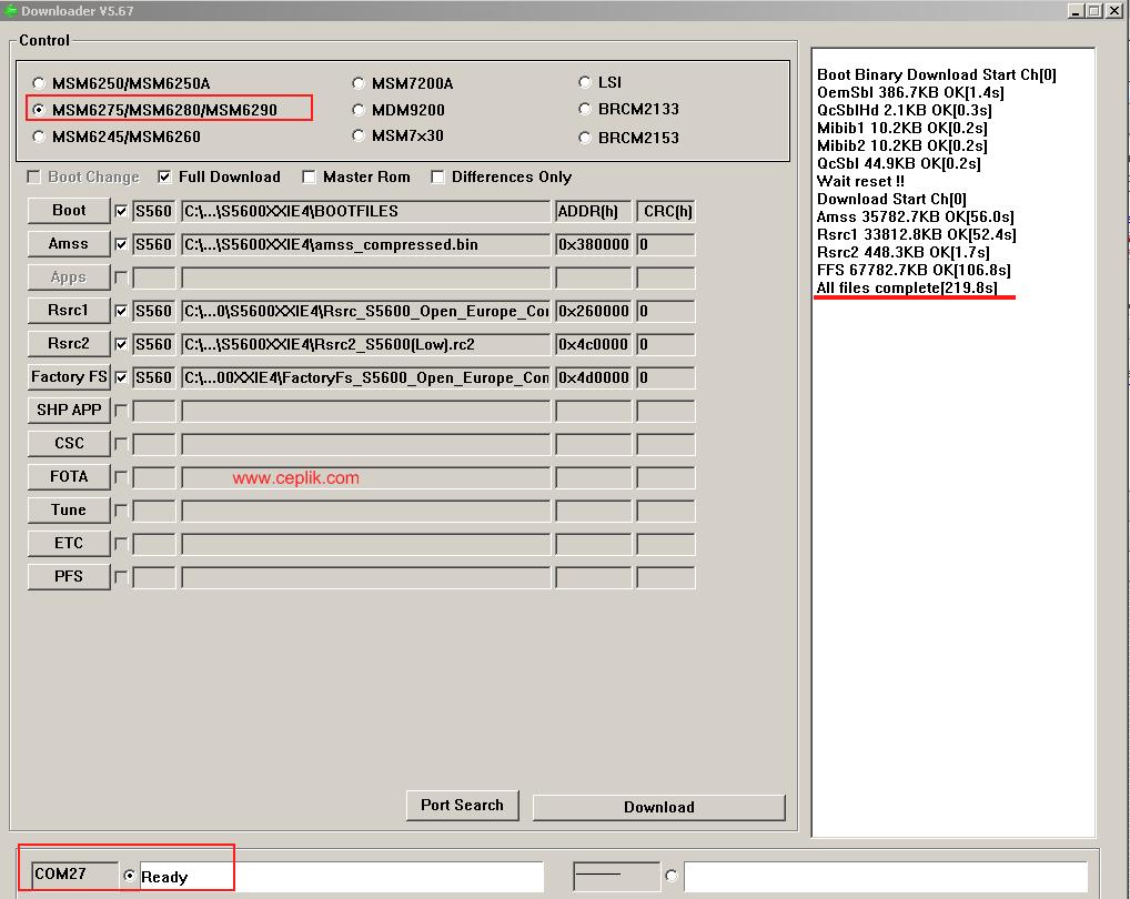 Samsung s5600 preston yazılım yükleme