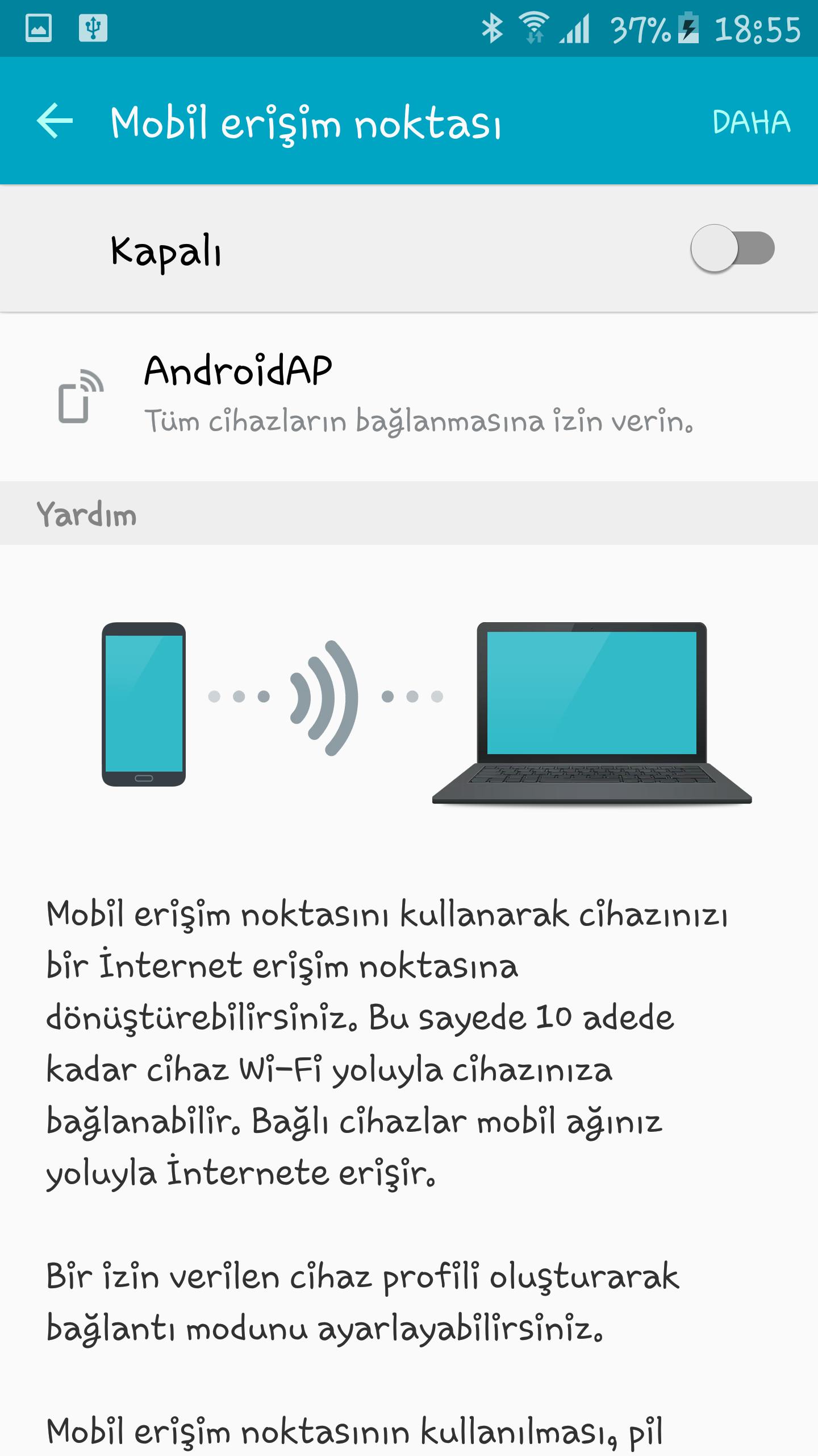 Internete bağlanmak için telefonunuzu modem olarak kullanın