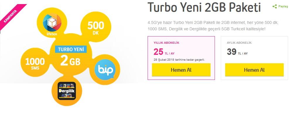Turkcell Faturalı Turbo Yeni 2GB Paketi 25 TL – Ceplik.Com