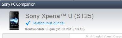 sony xperia u yazılım güncelleme